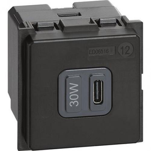 BTICINO - USB зарядно устройство тип C за бързо зареждане до 30W K4288C2