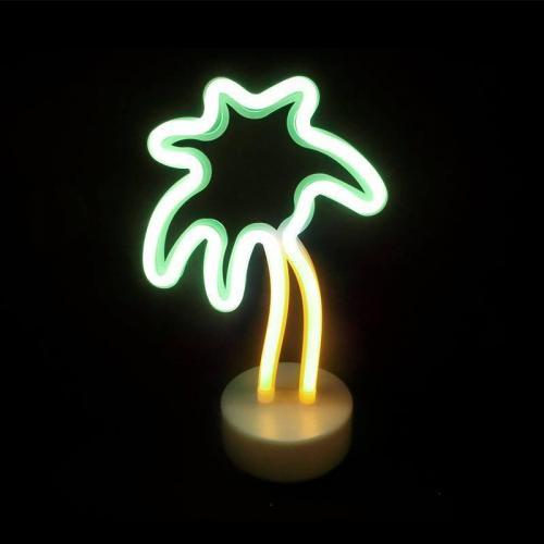 ACA LIGHTING - FPALMNEON2A  LED ДЕКОРАТИВНА ЛАМПА  5.4W, с USB, батерии, жълта и зелена светлина, вътрешно приложение IP20