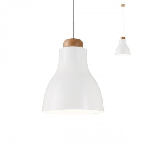 REDO GROUP - pendnat luminaire CADEIRA  01-1605 SU E27 D330 SHINY CREAM+MAT WHITE+LIGHT WOOD