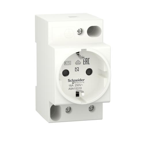 SCHNEIDER ELECTRIC - Модулен контакт за DIN шина Acti 9 iPC шуко 16Α 2.5 мод. A9A15310