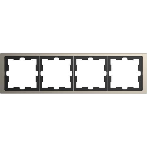 SCHNEIDER ELECTRIC - MTN4040-6550 рамка четворна метална никел D-Life Merten