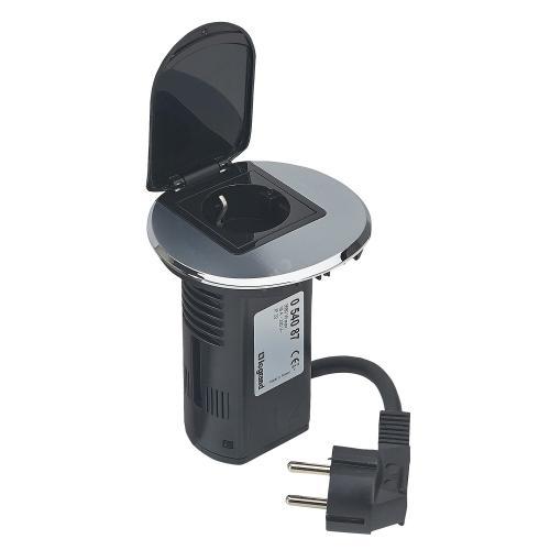LEGRAND - 054087 Модул за бюро неръждаема стомана 1х 2P контакт и USB + кабел