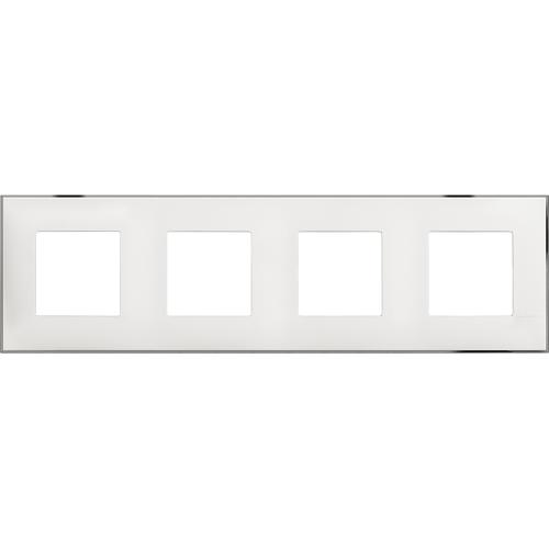 BTICINO - R4802M4WR cover plate -2+2+2+2 horizontal/vertical installation modules - White chrome