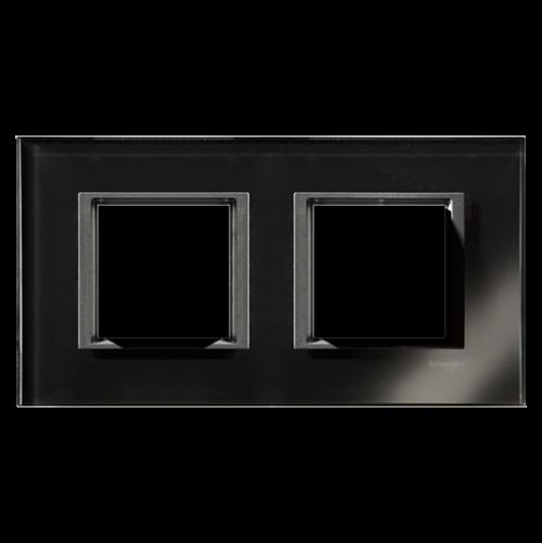 SCHNEIDER ELECTRIC - MGU68.004.7C1 декоративна рамка двойна черно огледало Unica Class