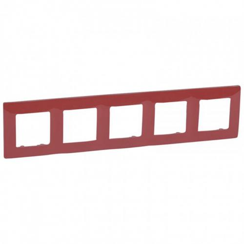 LEGRAND - Петорна рамка NILOE 665025 червен