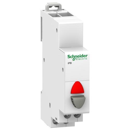 SCHNEIDER ELECTRIC - Модулен бутон единичен Acti 9 iPB 1NC сив/червен индикатор A9E18037