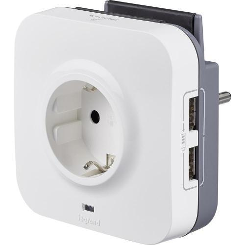 LEGRAND - 694671 Aдаптер защита от пренапрежение 2P+T, 16A 2xUSB и поставка за телефон