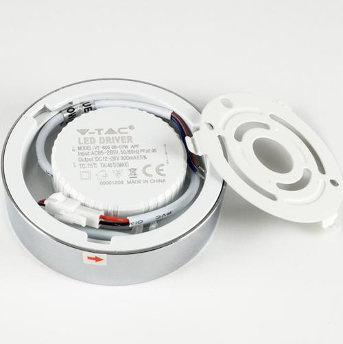 V-TAC - 6W LED Панел Външен монтаж Хром Кръг Неутрално Бяла Светлина SKU: 6359 VT-605CH