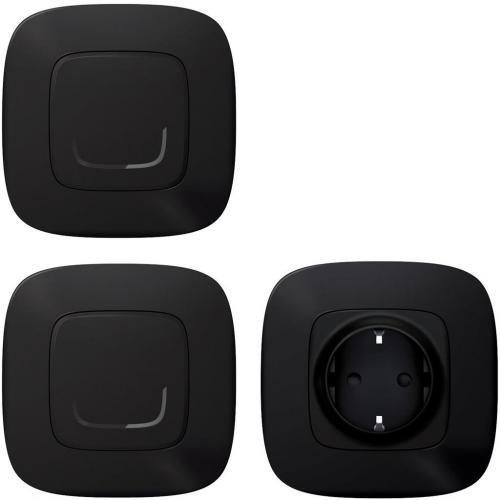 LEGRAND - Доп. пакет Smart Valena Allure Черно (Контакт+жичен ключ/димер с компенсатор+безжичен ключ) с рамки Legrand Netatmo 752827