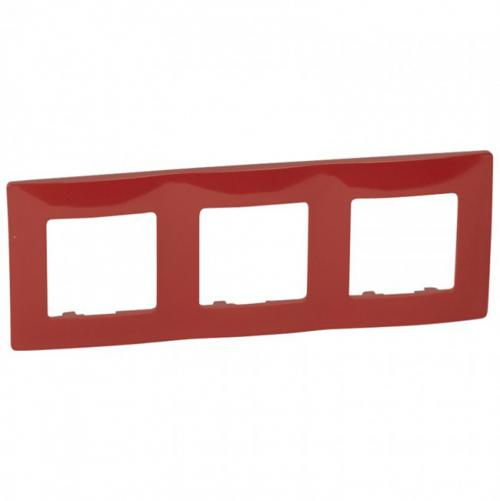 LEGRAND - Тройна рамка NILOE 665023 червен