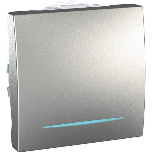 SCHNEIDER ELECTRIC - MGU3.201.30N Eднополюсен ключ сх.1 двумодулен със синя глим-лампа алуминий