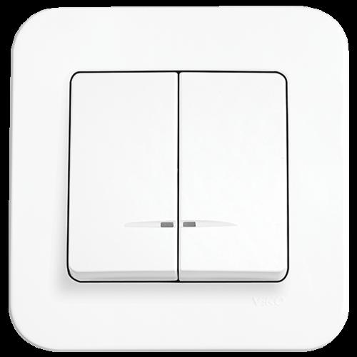 VIKO - 2-gang One-way Switch, Illuminated 90420050 white