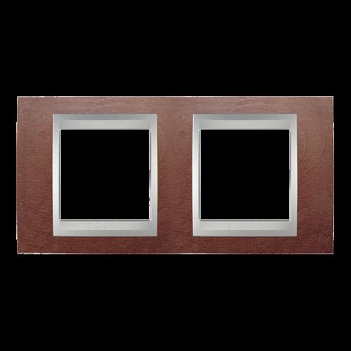 SCHNEIDER ELECTRIC - MGU66.004.0M3 Unica Top - cover frame - 2 gang - wengue/aluminium