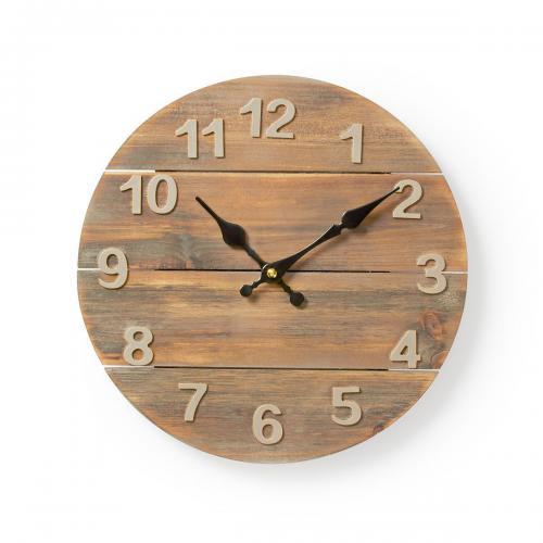 NEDIS - Стенен часовник, дървен, ф300mm, кварцов механизъм, CLWA002WD30