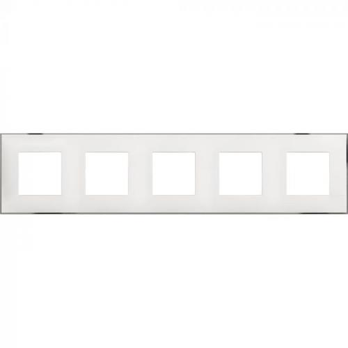 BTICINO - R4802M5WR cover plate -2+2+2+2+2 horizontal/vertical installation modules - White chrome