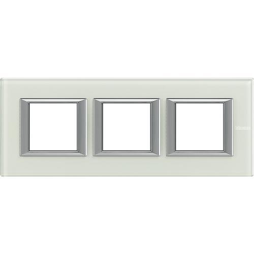 BTICINO - HA4802M3HVSW Тройна рамка 3х2М Whice стъкло правоъгълна Axolute