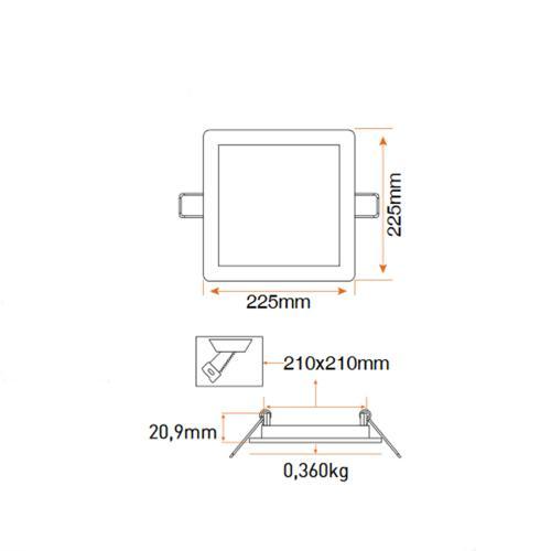 PANASONIC - 18W LED панел за вграждане, квадрат 4000K 225x225 LPLA21W184