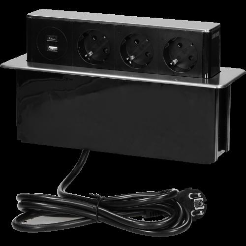 ORNO - Мебелна кутия Pop-Up, с контакти 3х шуко, 2х USB A+C, кабел 2m, 250x65x94mm, цвят ИНОКС OR-GM-9014(GS)-B-G