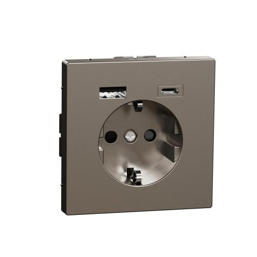 SCHNEIDER ELECTRIC - MTN2367-6036 Механизъм контакт шуко 16A + USB A+C 3A 15W неръждаема стомана System Design