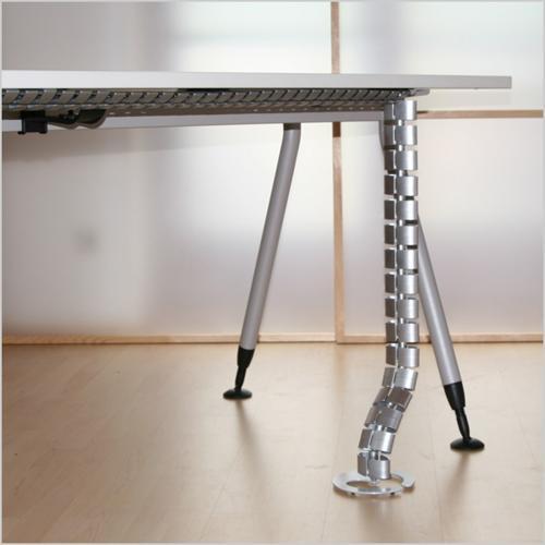 BACHMANN - 930.050 Кабелна спирала под/бюро с две метални основи сребристосива 35х70мм 0,75 метър