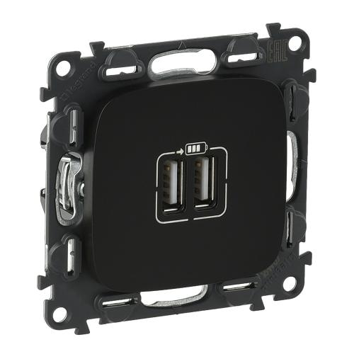 LEGRAND - 754998 Двоен USB контакт 1500мА за зареждане 5V Valena Allure черно /комплект с механизъм/