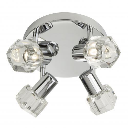 SEARCHLIGHT -   3764CC-LED Triton Chrome 4 Light Spotlight With Clear Glass Shades
