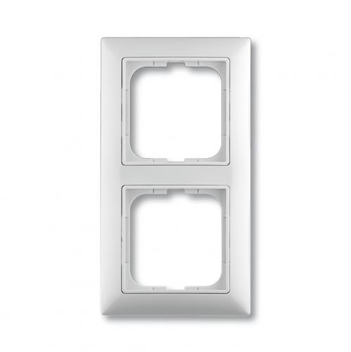 ABB - 1725-0-1480 2gang Cover frame with decorative styling frame, alpine white, Cover Frames basic55
