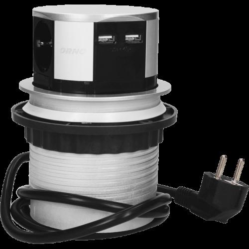 ORNO - Колона Pop-Up, с контакти 3х шуко, 2х USB A, кабел 1.5m, Ø100mm, цвят АЛУМИНИЙ OR-AE-1342(GS)