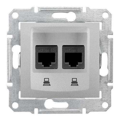 SCHNEIDER ELECTRIC - SDN4800160 Информационна розетка 2xRJ45 кат.6 UTP Sedna, 16А, алуминий
