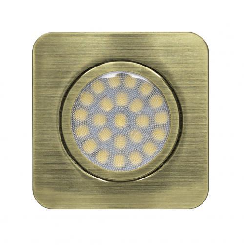 ULTRALUX - LMLS12342SB Мебелна светодиодна луна за вграждане, квадрат, 3W, 4200K, 12V DC, неутрална светлина, IP44, сатиниран месинг