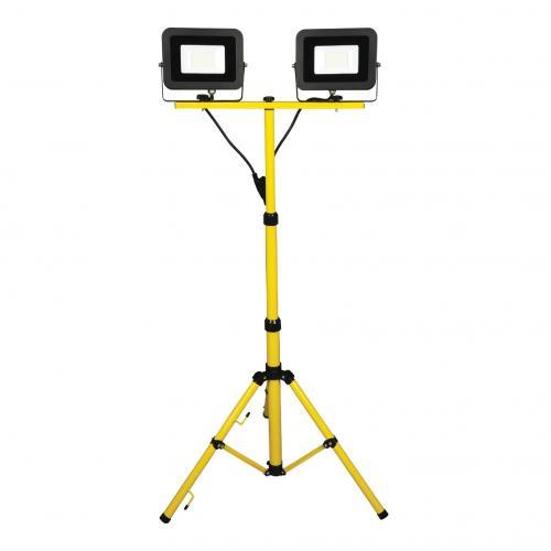 COmmel - Работна лампа 2х30W 2х2400lm 6500K със стойка триножник IP44 220V с кабел H05RN-F 3x1.5mm2 2,5 метра Commel 308-535