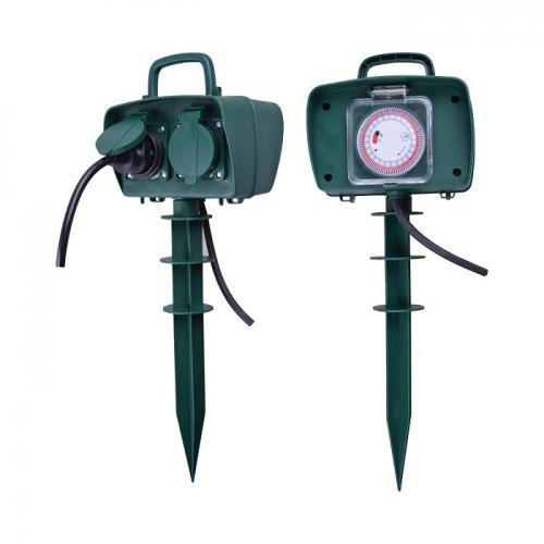 V-TAC - 2 Гнезда Градински Разклонител + Таймер Колче 3х1.5-3м влагозащитен IP44 Зелен SKU: 8811 VT-1112-3