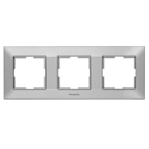 PANASONIC - Рамка тройна хоризонтална сиво PANASONIC Arkedia slim WNTF0803-2SL
