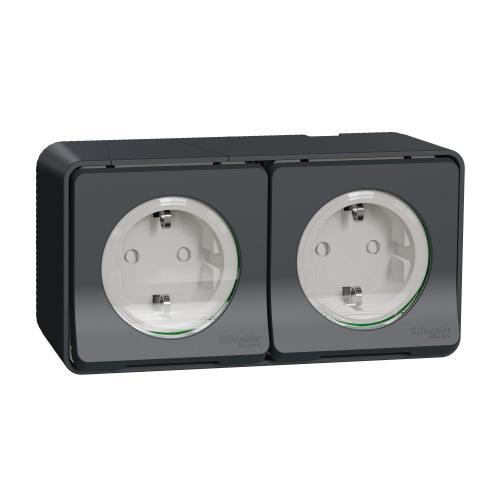 SCHNEIDER ELECTRIC - Влагозащитен контакт двоен MUR36029 Mureva Styl антрацит