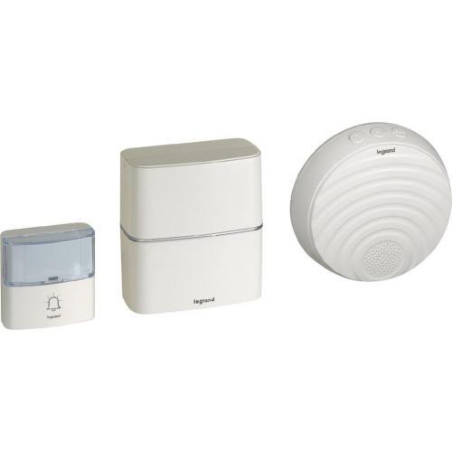 LEGRAND - Безжичен звънец 220V бял в комплект с бутон 200 метра IP54, 30 мелодии и опция за добавяне на MP3 мелодии 94272