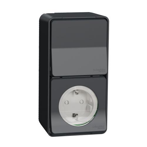 SCHNEIDER ELECTRIC - Контакт + девиаторен ключ Шуко, с детска Защита за открит монтаж MUR36024 Mureva Styl  антрацит