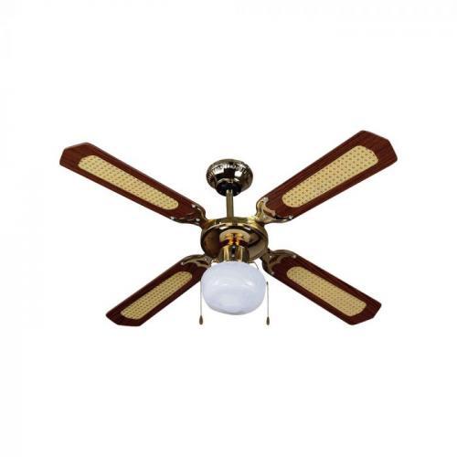 V-TAC - Вентилатор за Таван с Дистанционно 4 Перки 50W AC Мотор с осветление  1 x Е27 SKU: 7914 VT-6042-4