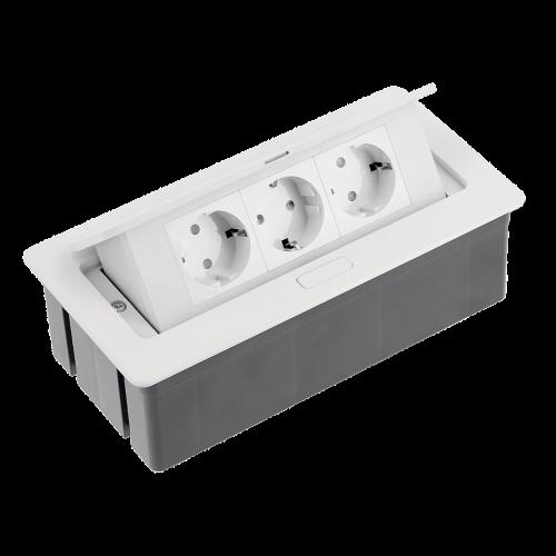 GTV Lighting - Контакт за вграждане в мебел метал бял AE-PBSC3GS-10 контакт тип шуко 3бр.