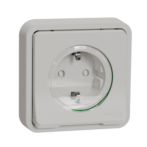 SCHNEIDER ELECTRIC - Mureva Styl - power socket-outlet with sideE - 16A 250V - 2P + E with shutters - white