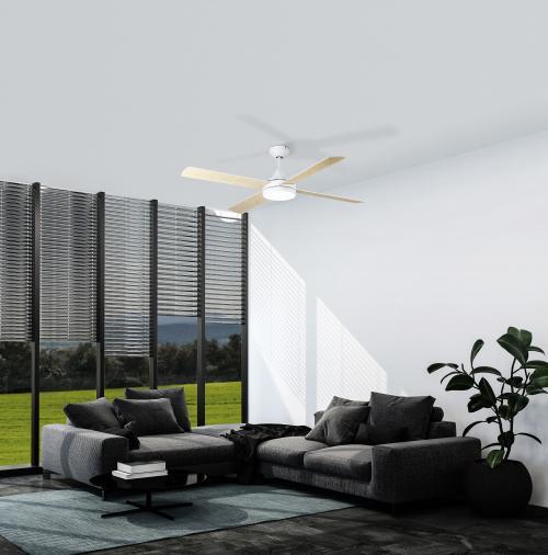 EGLO - Вентилатор със осветление AC 55W Ø1220/326+LED CCT 1х20W 3000-5000К бяла осн./бяло/дъб с дист. TRINIDAD 35084