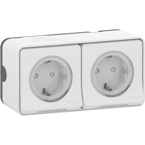 SCHNEIDER ELECTRIC - MUR39035 Mureva Styl - double power socket-outlet with sideE - 16A 250V - 2P + E with shu