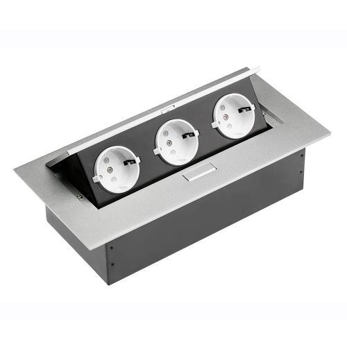 GTV Lighting - Контакт за вграждане в мебел метал акуминий AE-PB03GS-53 контакт тип шуко 3бр.