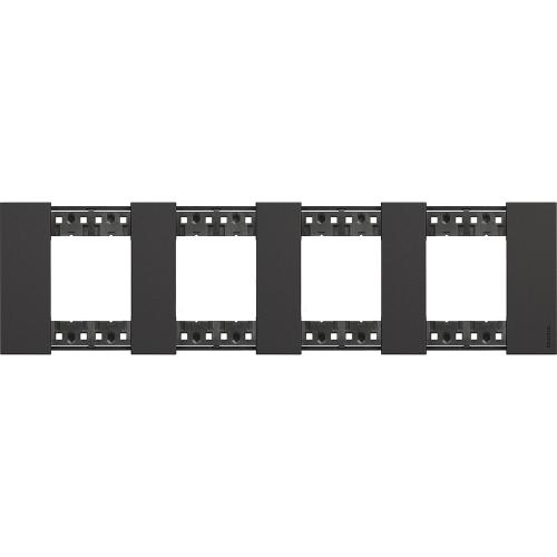 BTICINO - Рамка 4x2 мод. немски стандарт цвят Черно Living Now Bticino KA4802M4KG