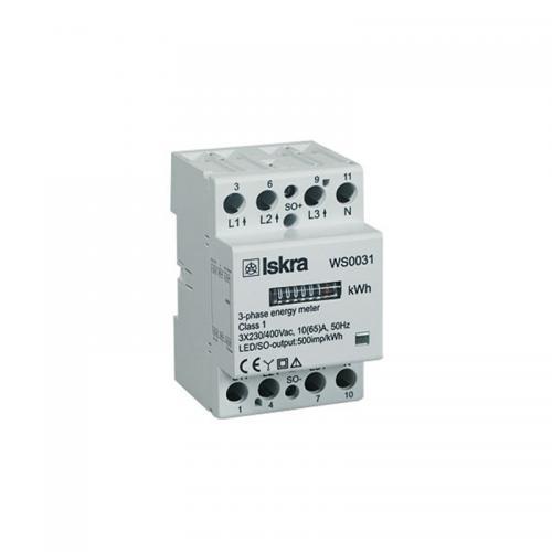 ISKRAEMECO - Трифазен мерител за ДИРЕКТНО мерене на ел. енергия, импулсен изход, за DIN монтаж 4 мод, 65A WS0031