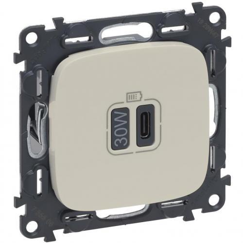 LEGRAND - Розетка USB за зареждане тип C Power Delivery 30W цвят Крем Valena Allure (комплект с механизъм) Legrand 755507