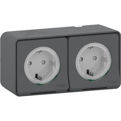 SCHNEIDER ELECTRIC - MUR36029 Mureva Styl - double power socket-outlet with sideE - 16A 250V - 2P + E with shu