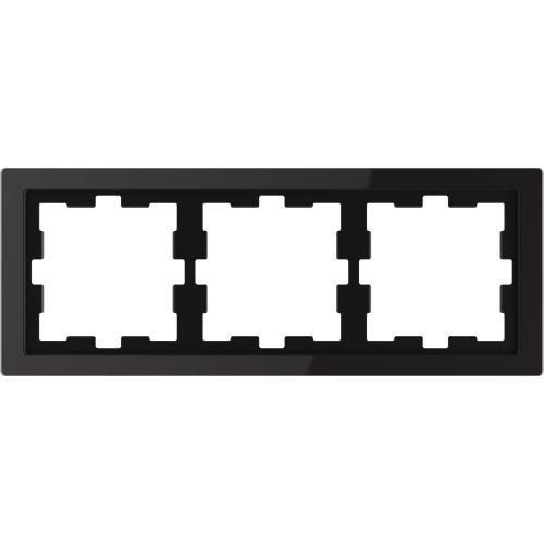SCHNEIDER ELECTRIC - MTN4030-6503 рамка тройна стъклена черен оникс D-Life glass Merten