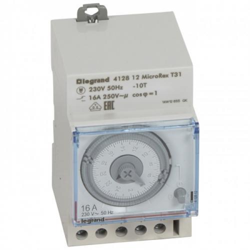LEGRAND - ДИН Таймер 24h 16А превклюващ 1NO/1NC 240 минути минимален интервал, без резерв 3 модул 412812