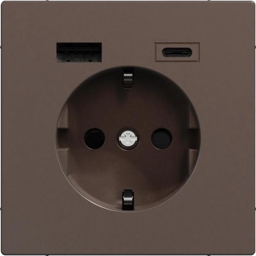 SCHNEIDER ELECTRIC - MTN2367-6052 Механизъм контакт шуко 16A + USB A+C 3A 15W с лицев панел метален мока System Design