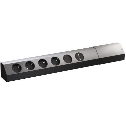 BACHMANN - Контакт 4х220V шуко + 2хUSB и ключ за ъглов монтаж алуминиев комплект с 2м. кабел Casia 923.008